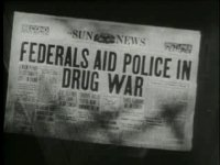 note the slogan 'drug war'